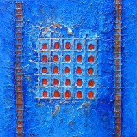 Contemporary art - Elevation blue - Doors - Roussillon in Provence - Luberon - Vaucluse - SOLD