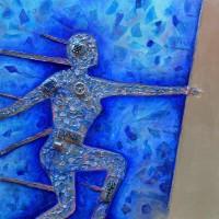 Transcendance - Homme de Vitruve selon Léonard de Vinci revisité sur toile par le peintre Tapiézo en Provence - VENDU