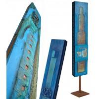 Sculpture Monolithe ange bleu - Totem en mouvement - Roussillon - VENDU