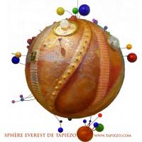 Sphere Everest  - sculpture cosmique - sable électronique acier verre pigment - Roussillon Provence - VENDU