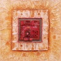 Homme et cité - Peinture sur toile - Hiéroglyphes ordinateur et pigment Ocre de Roussillon en Provence